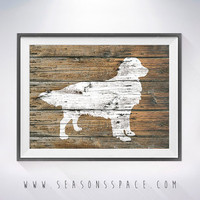 Golden Retriever 2 art illustration print,dog painting, Rustic Wood art, Animal print, Home Decor,Animal silhouette,Golden Retriever print