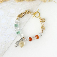 Music Inspired Bracelet made of High Quality Yellow Citrine, Clear Crystal Quartz, Green Fluorite and Carnelian Stones