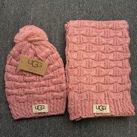 DCCKB62 Gucci' Fashion Casual Trending Women Winter Knit Warmer Hat Cap Scarf Set Pink G
