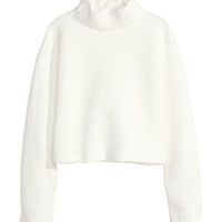 H&M - Texture-patterned Turtleneck - Natural white - Ladies