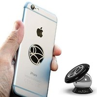 Wuteku UltraSlim Magnetic Cell Phone Holder | Strong Dashboard Mount | For Car and Home | Universal Design | iPhone 6 / 5 / 4 | Galaxy S6 / S5 / S4
