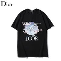 Dior Fashion New Letter Floral Print Women Men Top T-Shirt Black