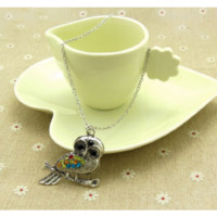 Vintage Owl Rhinestone Pendant Necklace For Woman
