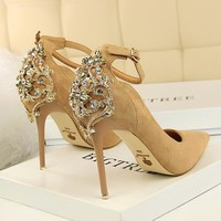 Crystal heel Pointed Toe  Heels