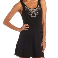 Beaded Bib Skater Dress by Charlotte Russe - Black