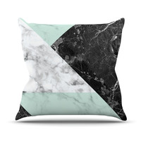 "KESS Original ""Geo Marble and Mint"" Black Art Deco Throw Pillow"