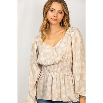 Caught Your Eye Taupe Feather Print Long Sleeve Top