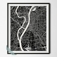 Lyon Print, France Poster, Lyon Poster, Lyon Map, France Print, Street Map, France Map, Office Decor, Wall Decor, Wall Art