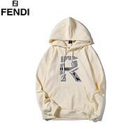 Fendi 2019 new reflective digital label hooded sweater Beige