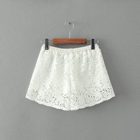 MapleClan Hollowed Floral Lace Boxers Cover Up Shorts - L