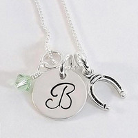 Sterling Silver Hand Stamped Horseshoe Initial Necklace, Cowgirl Horseshoe Necklace with Horseshoe Charm and Swarovski Crystal Birthstone