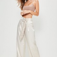 Missguided - Nude Hammered Satin Double Tie Front Wide Leg Pants