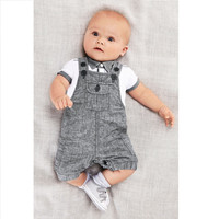 Baby Boys 2 PC Grey Overall Jumpsuit + Collared Shirt