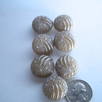 Vintage Plastic Buttons Set Of 7 Round Beige Textured Measuring 7/8 inches