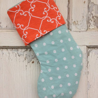 25% OFF WEEKEND SALE- Polka Dot Stocking -Christmas Stocking-Upcycled Bed Linens