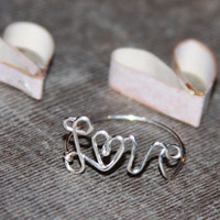 Love Wire Rings, Heart Rings, Heart Wire Ring, Love Rings, Love Jewelry, Word Rings