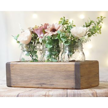 Wood Box Centerpiece, Box for Mason Jars