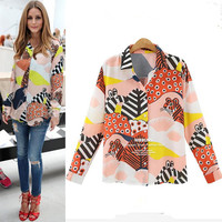 Long Sleeve Print Autumn Shirt [9068276996]
