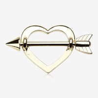 A Pair of Golden Cupid's Heart Nipple Shield Ring