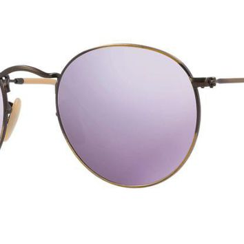 Ray Ban Round Sunglasses Bronze/Copper with Lilac (purple) Mirrored Lens RB 3447 167/4