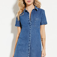 Collared Denim Shift Dress