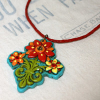 Southwest Flower Necklace Polymer Clay Pendant Red Leather Cord Necklace Southwestern Texas Country Girl