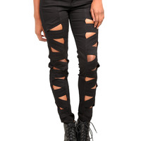 Royal Bones Black Peek-A-Boo Skinny Jeans