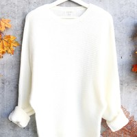 aspen womens chunky crew neck sweater - ivory