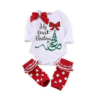 "New Fashion Baby Girl Christmas Bodysuit ""MY First Christmas"" Newborn Baby Girls Romper Bodysuit Outfits Christmas Gifts"