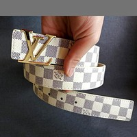 Louis Vuitton LV Tide brand classic checkerboard men and women models wild smooth buckle belt White