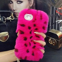 12 Colors Luxury Sexy Rabbit Fur Plush Phone Cases Hard Case for Apple iPhone 6 6S plus 7plus Bling Diamond Hole Cover