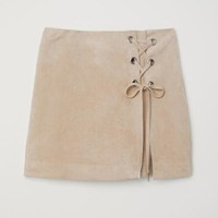 Skirt with Lacing - Light beige - Ladies | H&M US