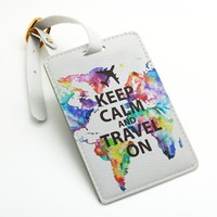 Keep calm and travel on, colorful world map, pu leather Luggage Tag Travel Tag, Bag Tag, ID Tag, travel accessories gift (L69)