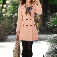 Double Breasted Trench Coat with Leopard Scarf = 1828320900