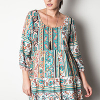 Printed Tie Back Peasant Dress - Green Mix - Curvy