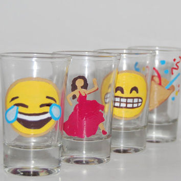 Emoji Hand Painted Shot Glasses 1.5 oz Laugh Face Salsa Girl Party Horn Cheesing Face