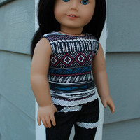 18 inch doll clothes, geometric print tank top, black skinny jeans with lace trim, american girl ,maplelea