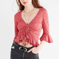 UO Myra Cinch Front Ruffle Top   Urban Outfitters