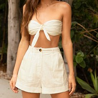 Knot Front Pleated Tube Top & Wide Leg Shorts Set
