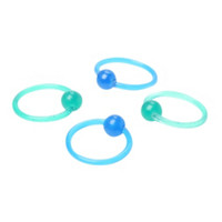 Acrylic Green And Blue Glow-In-The-Dark Captive Hoop 4 Pack