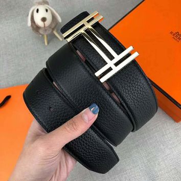 HERMES Newest Trending Men Casual Smooth Buckle Belt Leather Belt