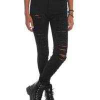 Machine Black Ripped High-Waisted Skinny Jeans