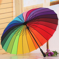 16 color Princess Umbrellas Fahsion rainbow Straight umbrella rain women men umbrella novelty items 2016 free shipping SLL0204