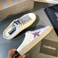 Golden Goose Ggdb White Leather And Pink Star Slipper