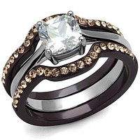 Cheap Rings TK1343PC Two Tone Dark Brown (coffee) Stainless Steel Ring