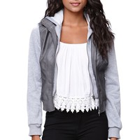 LA Hearts Fleece Sleeve Faux Leather Jacket - Womens Jacket