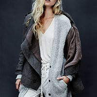 Free People Womens Herringbone Drapey Coat - Dark Brown