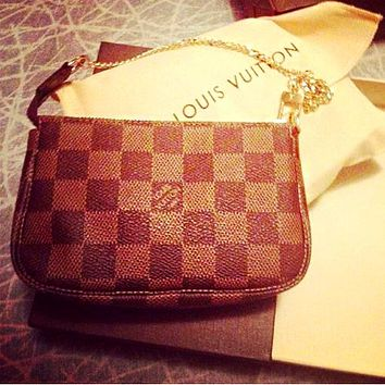 LV tide brand men and women models classic classic old flower zipper wallet card holder Coffee check