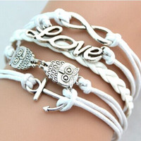 Fashion Charms Decoration Faux Leather Handmade Owl Anchor Wristband Multilayer