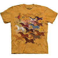 HORSES AND SUN The Mountain Native American Indian Tribal T-Shirt S-3XL NEW